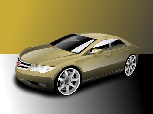 Vector illustration of powerful sedan gold colored car