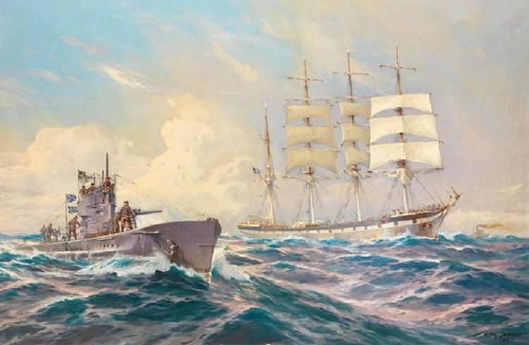 Willy Stöwer - Deutsches U-Boot fordert eine Viermast-Bark zum Beidrehen auf (1917)