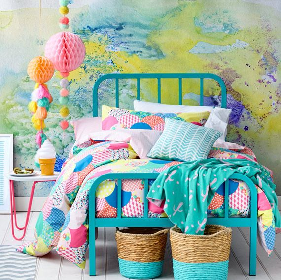 Splash Colorful Room Wall: Watercolor Abstract Colorful Splash Wallpaper, Pastel