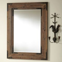 Industry Mirror Large Framed In Wood And Finished With Antiqued Iron Brackets And Rivets Thi Fall Entryway Modern Rustic Decor Rectangular Mirror