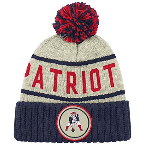 New England Patriots Oatmeal Heathered Striped Cuff Pom Knit Beanie Hat    Cap 412771f9f