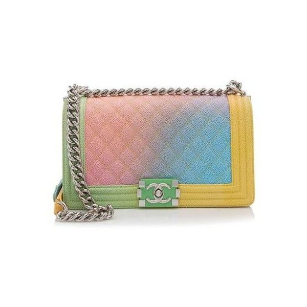 257b02e2ede9 Rental Chanel Caviar Leather Rainbow Medium Boy Bag ( 500) ❤ liked on  Polyvore featuring bags