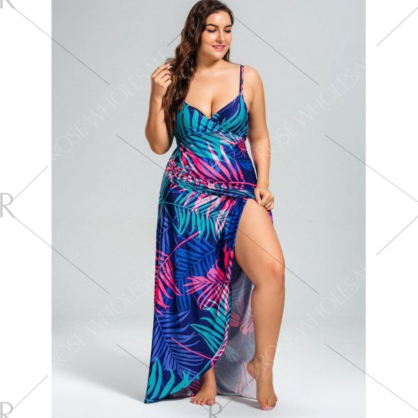 0d46919f691 Tropical Leaf Print Plus Size Cover Up Maxi Dress - 5xl Mobile
