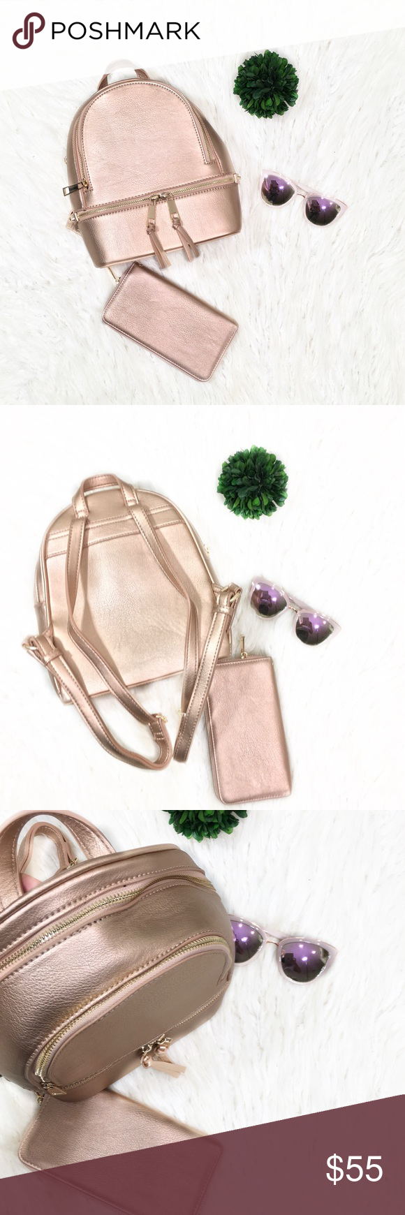 """""""Delilah"""" Rose Gold Backpack Smooth Textured PU Leather Matching Wallet Included! Adjustable Backpack Straps Zipper Top Closure Front Two Zipper Pockets Inside Zip Wall Pocket at Back Side Inside Double Open Wall Pocket at Front Side Soft Inside Lining 10.5(W) X 5(D) X 12(H) inch Bags Backpacks #zippertop"""