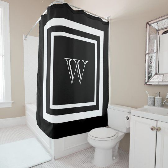 Modern Black White Framed Monogram Shower Curtain | Elegant and simple white monogram in a square double frame on a black background. Personalize with your own initial.