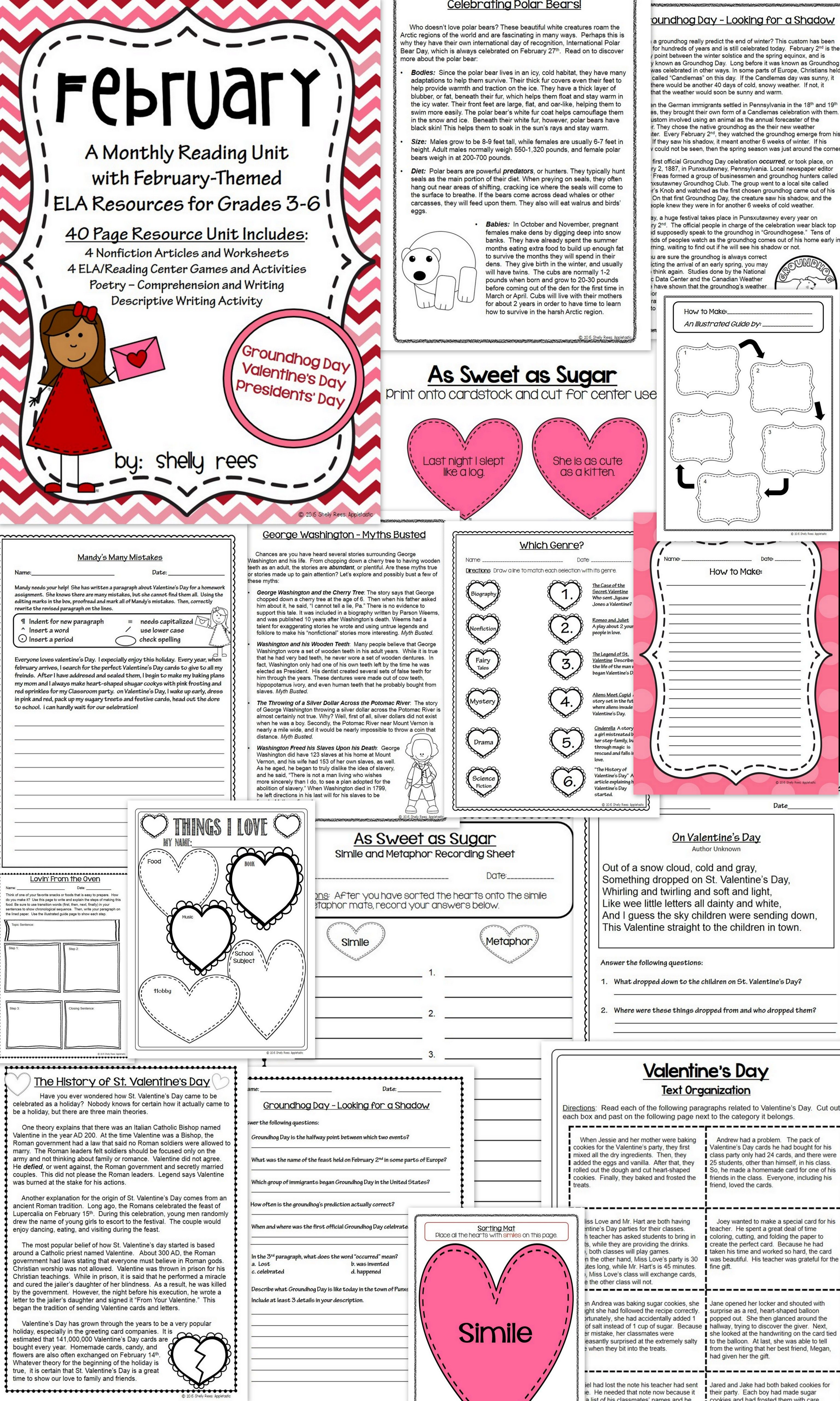 February Reading/ELA Unit. Informational Text and Worksheets on Valentine…    Reading comprehension worksheets [ 5120 x 3072 Pixel ]