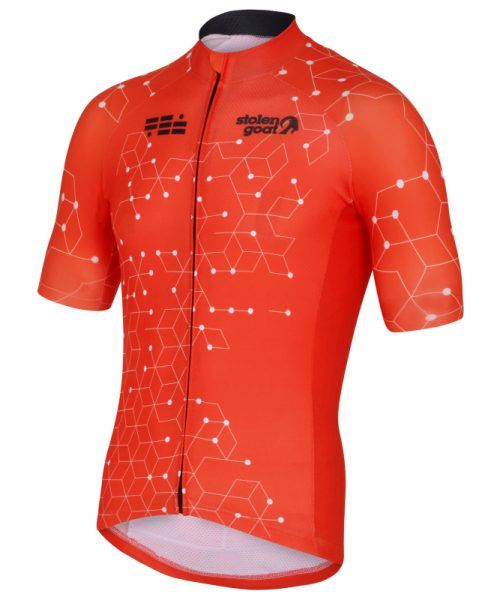 stolen goat orange cycling jersey mens intergalactic front  21b3c4b14
