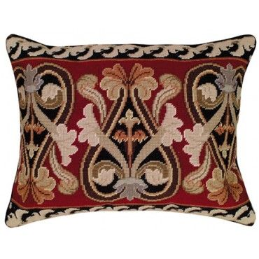 Neo Gothic Floral Needlepoint Pillow I