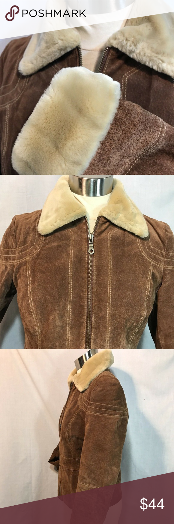 Wilsons Leather Suede Jacket Brown Faux Fur Lined Wilson's