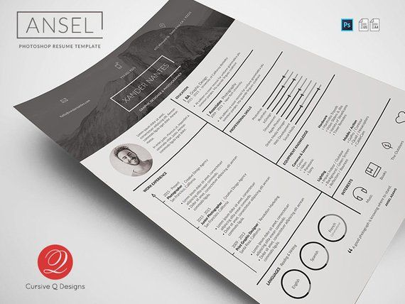 Ansel - Photoshop PSD Resume Template Instant Download