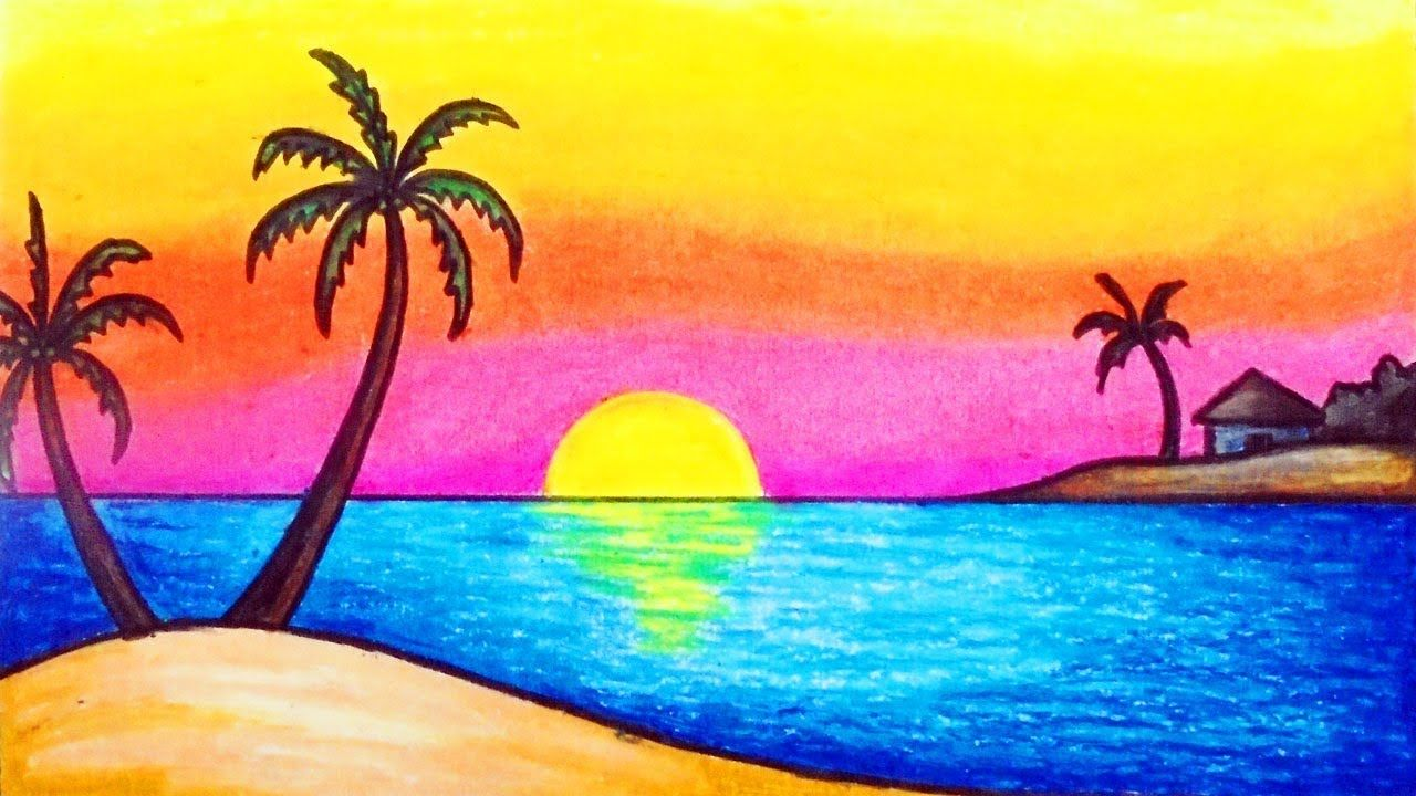 How to Draw Simple Scenery for Kids   Drawing Sunset ...