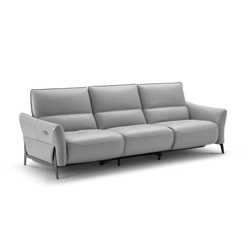 Branchdale Leather Reclining 104 3 Flared Arms Sofa Modern Sofa Leather Reclining Sofa Furniture