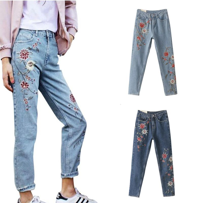 2017 femmes de mode denim fleur broderie taille haute jeans femme femme maigre pantalon mince. Black Bedroom Furniture Sets. Home Design Ideas