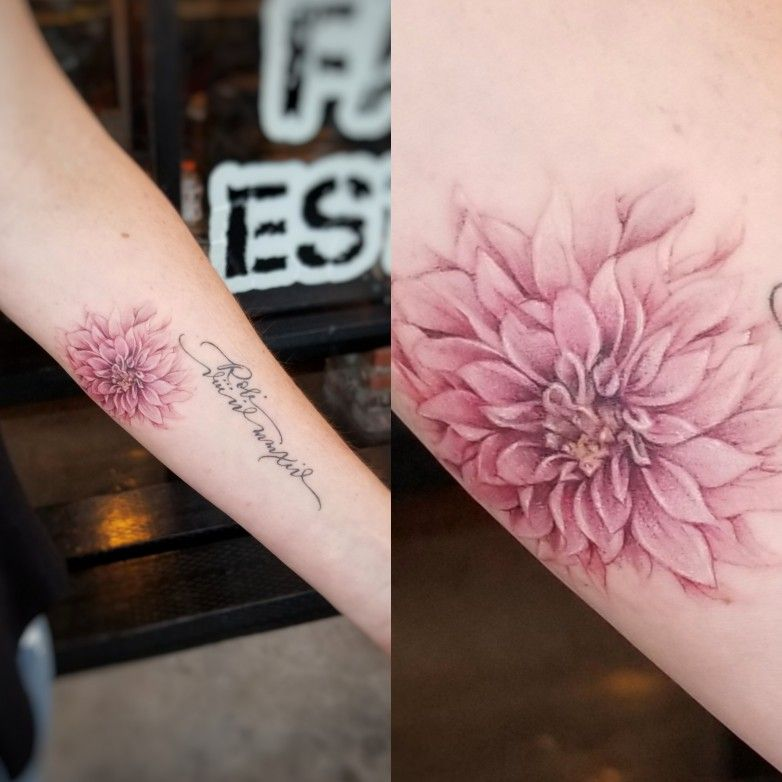 Lettering Flower Flowertattoo Dahlia Dahliaflower Colortattoo Realism Cute Girlswithink Gir Tattoos For Daughters Flower Tattoo Designs Dahlia Tattoo