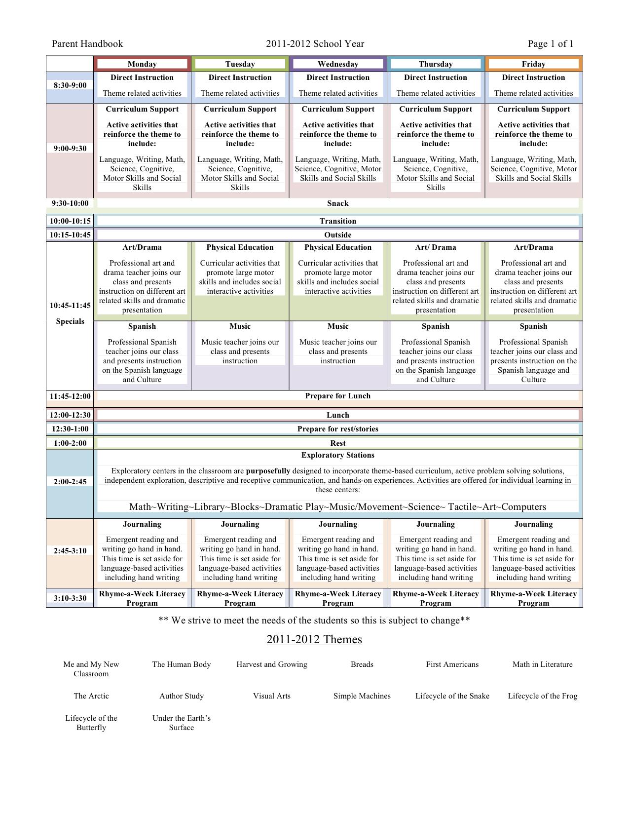 Preschool Daily Schedule Lesson Plan