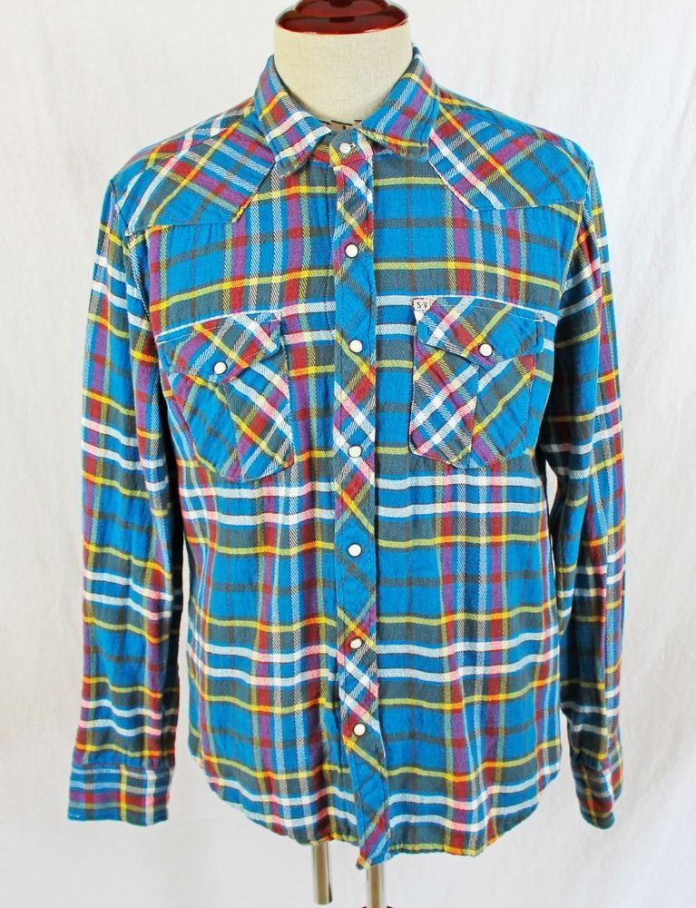 1fed6dbc Salt Valley Western Pearl Snap Shirt Mens size LARGE Plaid Rodeo Cowboy # SaltValley #Western