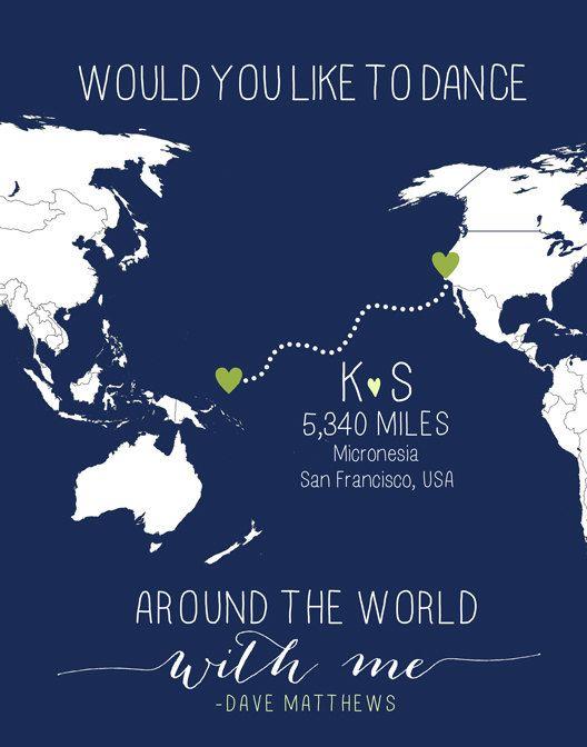 Custom long distance relationship love world map print with miles custom long distance relationship love world map print with miles military or anniversary gift asia usa gumiabroncs Choice Image