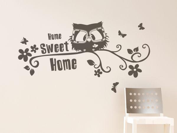 kleines Eulen mit Schriftzug Home Sweet Home als Wandsticker