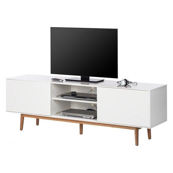 Tv Lowboard Lindholm Weiss Dekor Eiche Massiv Home24 Tv Hifi Mobel Massiv Mobel Und Mobel Wohnzimmer