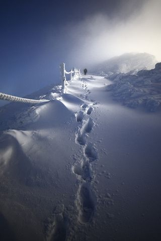 """""""Foot prints  in the sand....no Foot prints in the Snow""""  and still I don't walk alone........Climb by Piotr Krzaczkowski iPhone Wallpaper"""