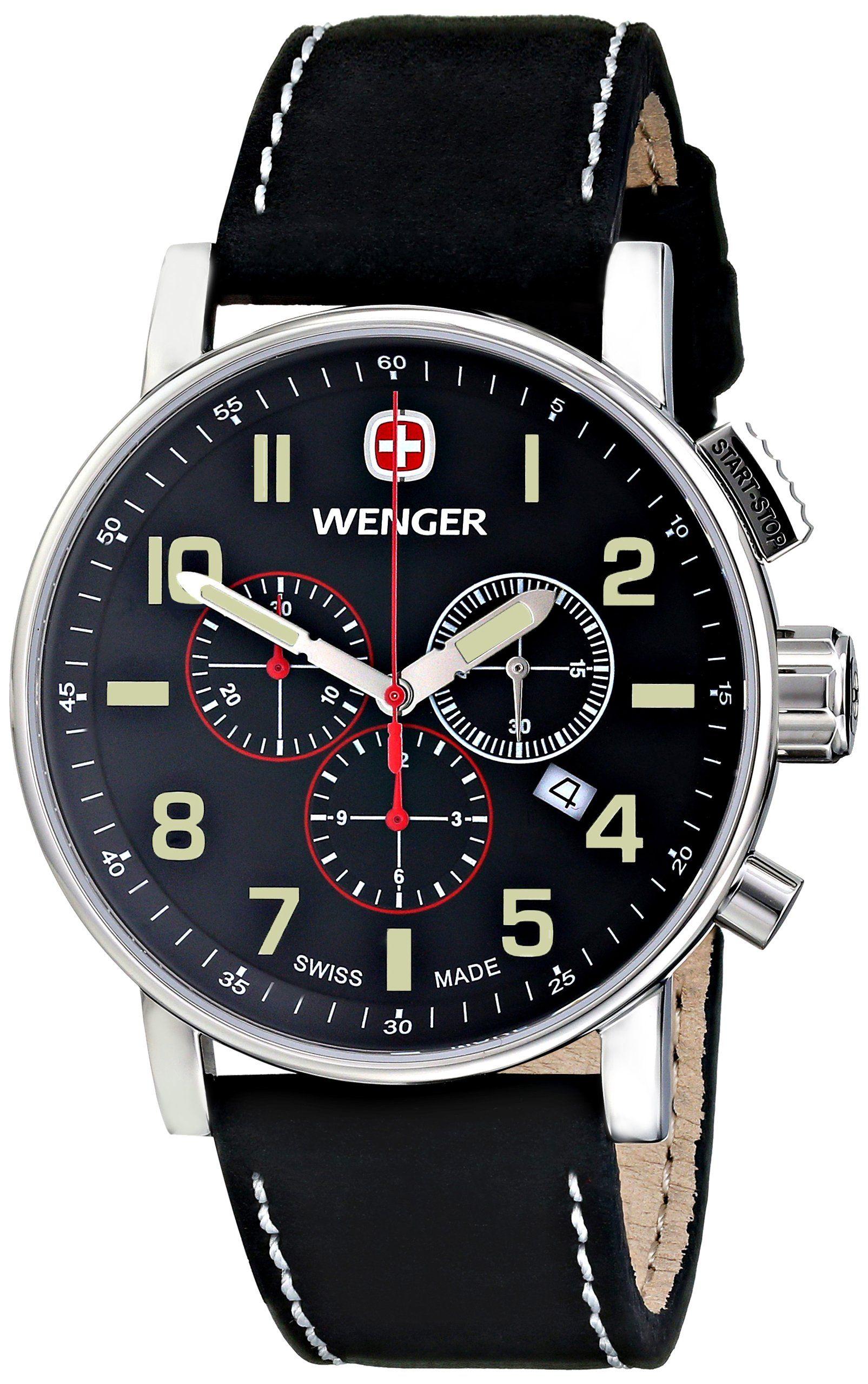 01dacac0b1e Wenger Men s 01.1243.104 Commando Chrono Analog Display Swiss Quartz Black  Watch