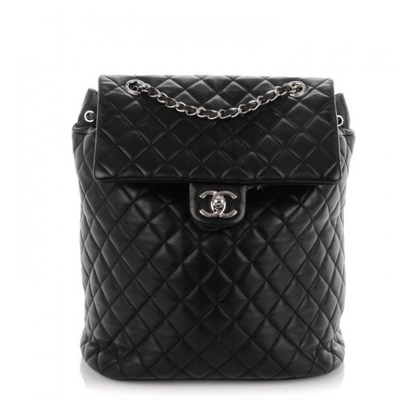 CHANEL Lambskin Quilted Large Urban Spirit Backpack Black ❤ liked ... : black quilted rucksack - Adamdwight.com