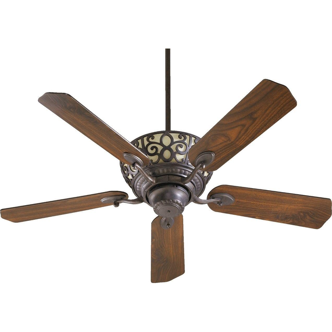 International Cimarron 52 Transitional Ceiling Fan With Integraded Uplight Light Kit Old World Bronze Walnut Blades Wood