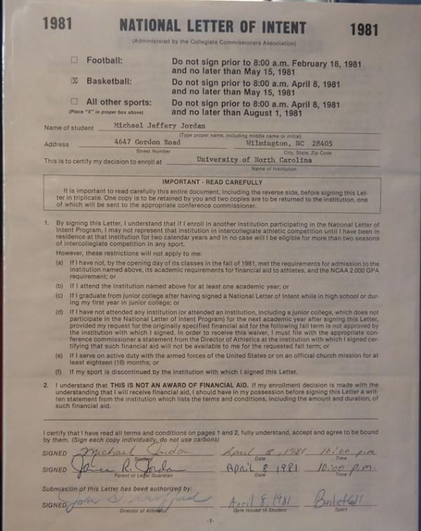 Michael Jordan\u0027s National Letter of intent NBA Pinterest