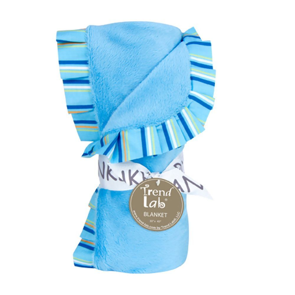 Keep your little one warm and secure with this Levi Ruffle Trimmed Receiving Blanket by Trend Lab. Soft blue raspberry velour is surrounded by a cotton percale ruffle that features a variegated stripe
