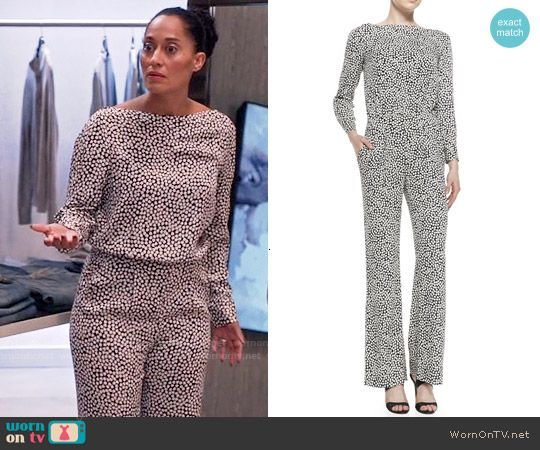 323598b7c54d Rainbow s printed long sleeve jumpsuit on Black-ish. Outfit Details  https