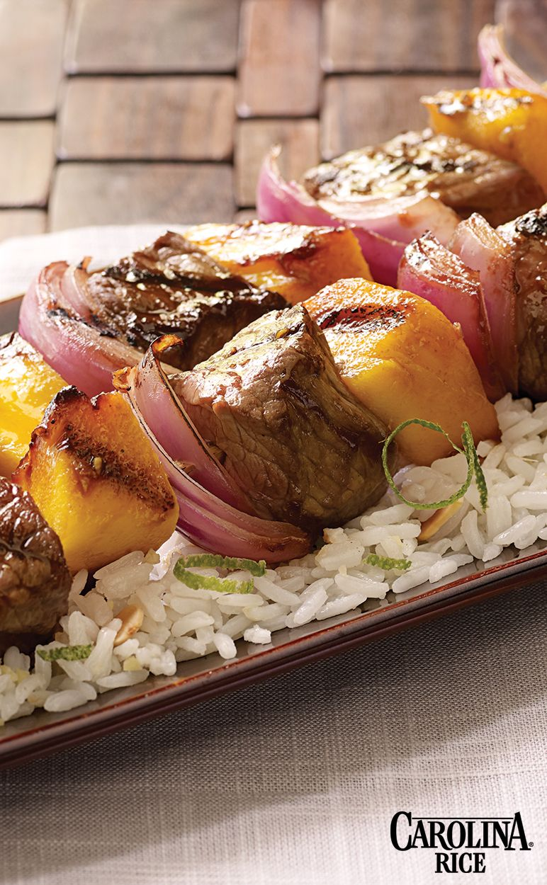 Asian flavored beef kabobs with coconut ginger rice