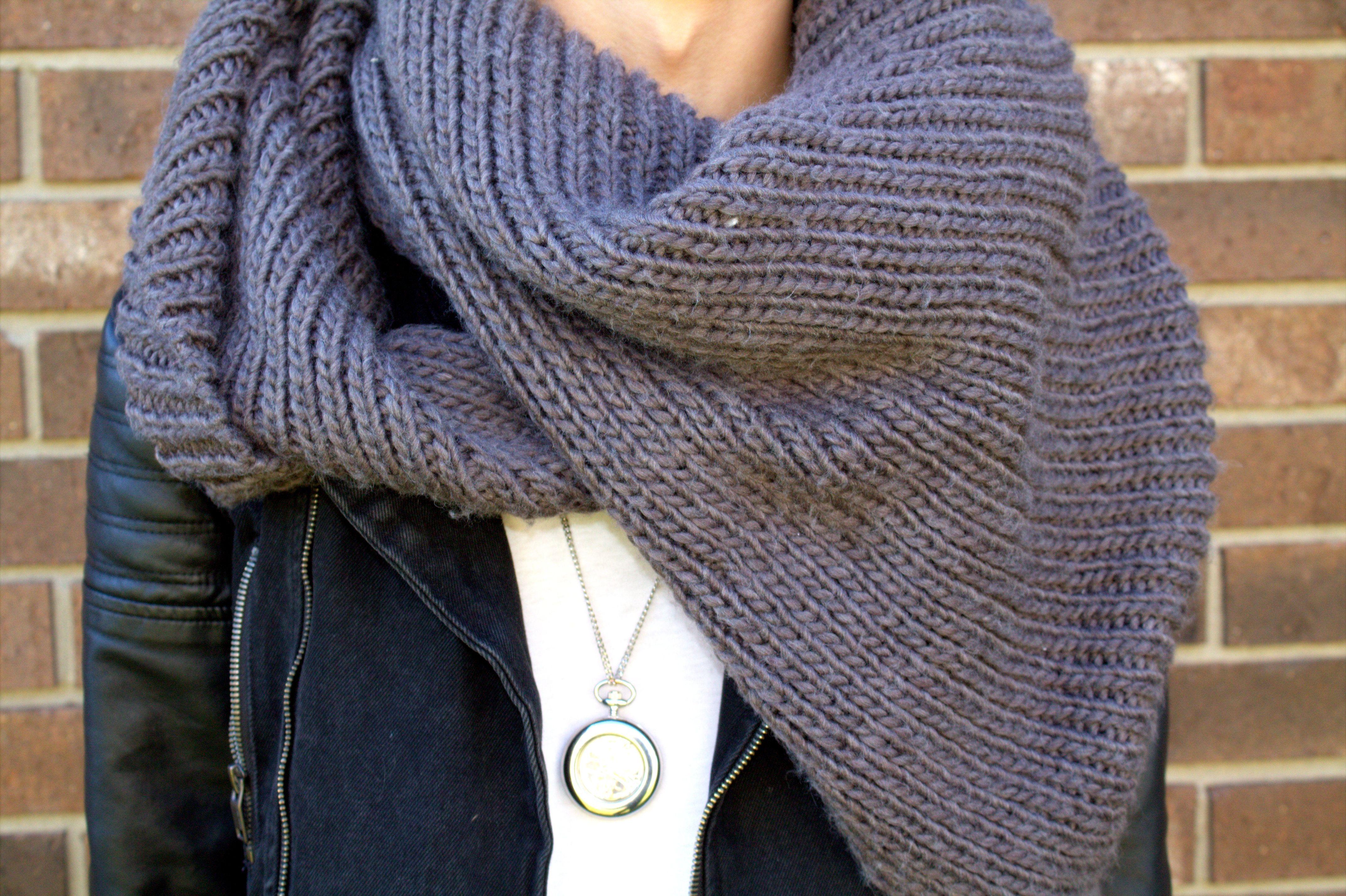 Chunky Knit Scarf & Pocket-watch Necklace
