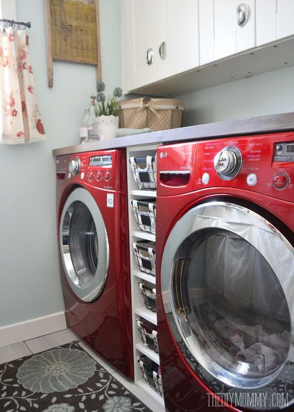 A Vintage Inspired Red Aqua Laundry Room Makeover Rooms Organizing Repurposing Upcycling Storage Ideas Wall Decor