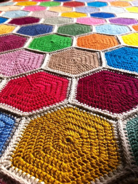 Crochet Hexagon Afghan Blanket Crochet Afghan Pinterest
