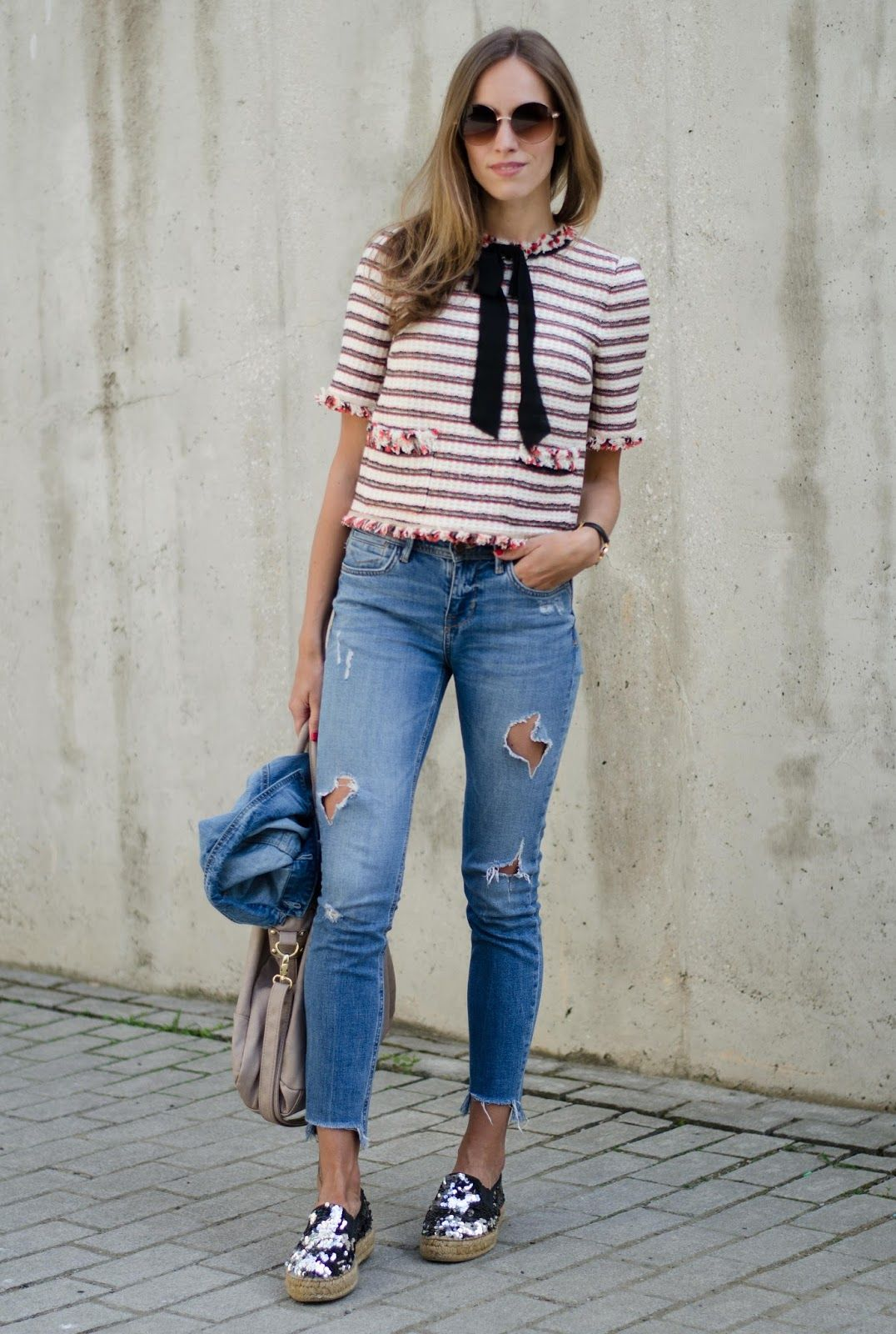 87d7cbecd6a2 kristjaana mere striped bow top frayed jeans sequin espadrilles outfit