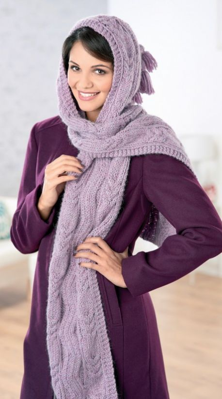 Hooded Scarf Free Knitting Patterns Accessories Hooded Scarf