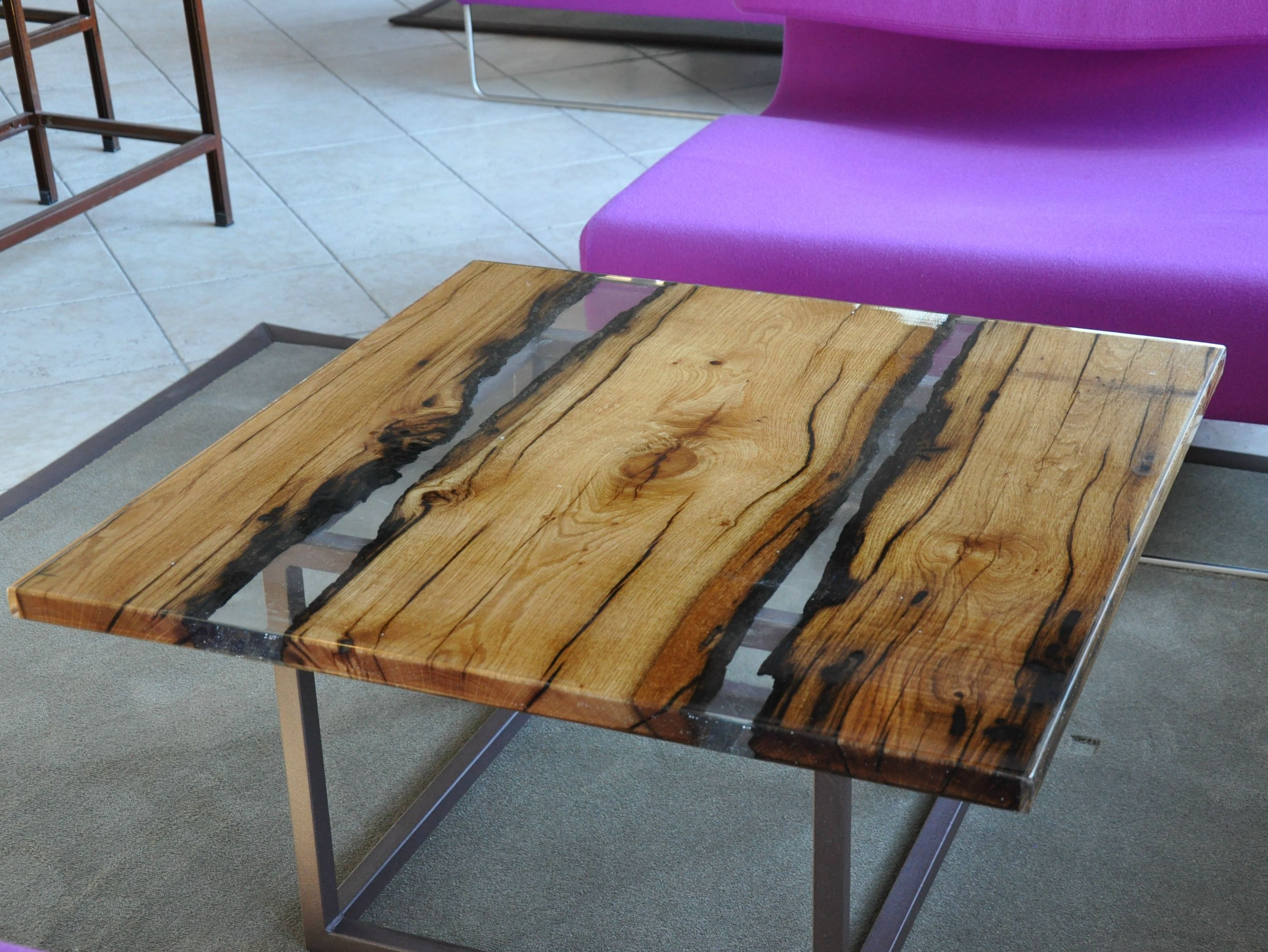 Tavolo Wood ~ Square solid wood coffee table for living room wood and resin