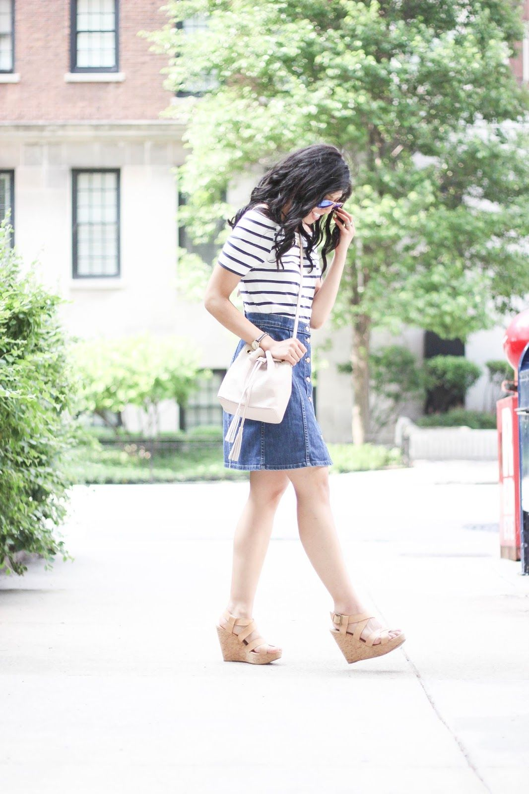 567f1091de Button down denim skirt, off the shoulder striped shirt with bucket bag.  Plus #