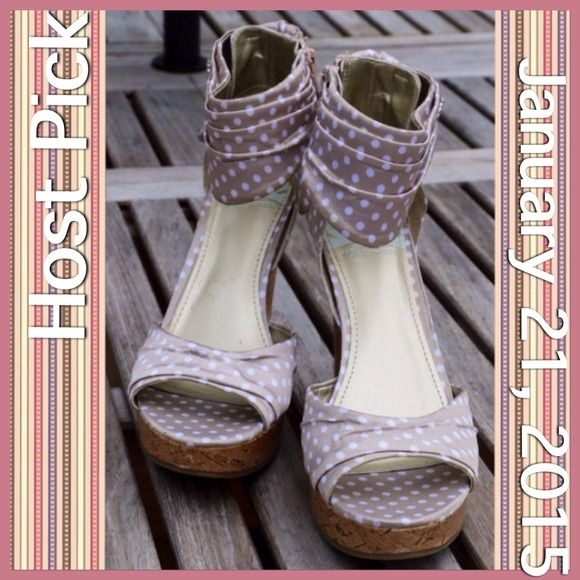 "Fergalicious ""Kindness"" Platform Wedge Sandals. Fergalicious ""Kindness"" Platform Wedge Sandals. Nude Colored with White Polka Dots. Decorative Bow to Accentuate the Back. Side Zip On/Off. Cutie Patootie Girly Sandals that Give you a Lift!   Peace, Luck & Posh • ✌️🍀👠  📦 Ask for a Bundled Price!  🐾Cruelty Free Item  ❔Questions Welcome!  🔝10% Seller 📬Fast Shipper 🚫No Paypal•Trades•Holds 🆔 on IG @generationXgirl 👠 POSH ON!!! Fergie Shoes Sandals"