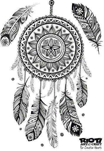 Dream catcher colouring in | Colouring pages | Pinterest ...