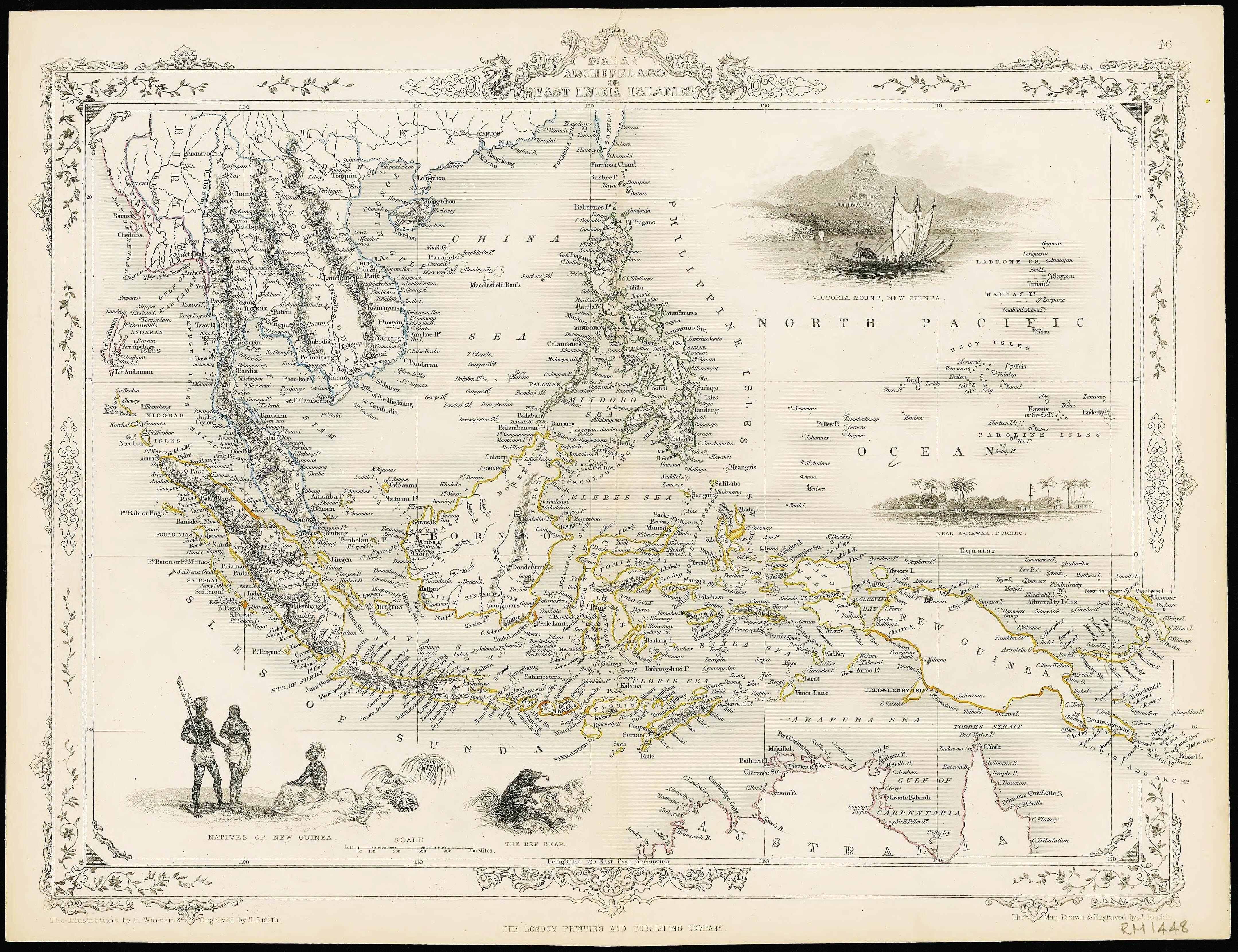 Old Vintage Decorative Map of Islands of Japan Fullarton 1872