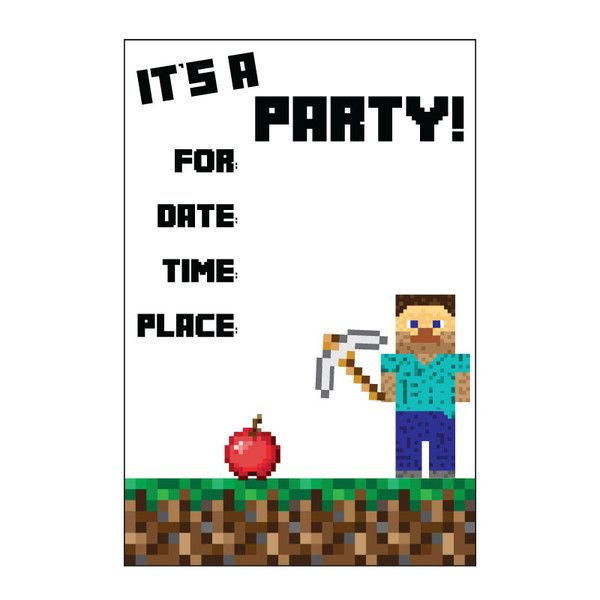 Free Minecraft Printable Invitation Dans Minecraft party