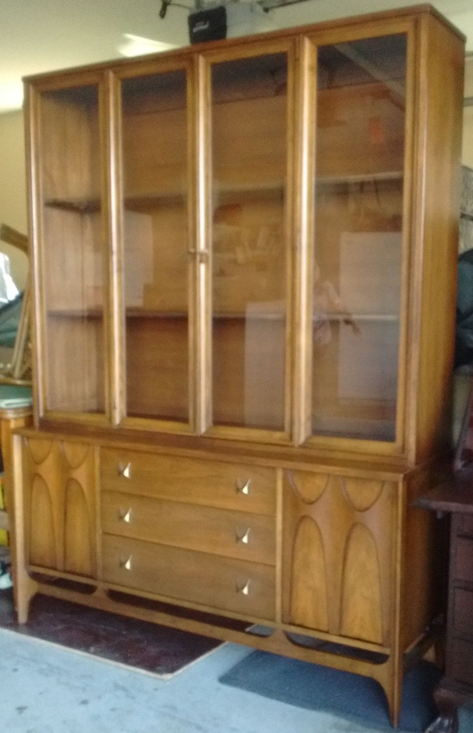Broyhill Brasilia breakfront hutch credenza with china top mid ...