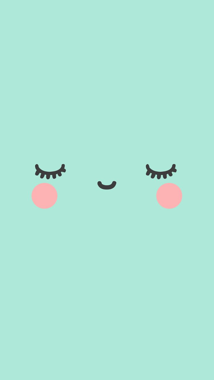 Kawaii Face Green Phone Wallpaper Jpg 750 1334 Wallpaper Pastel Objek Gambar Wallpaper Kartun