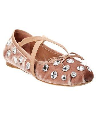 a7f2d30ff94 MIU MIU MIU MIU STUDDED VELVET BALLET FLAT.  miumiu  shoes