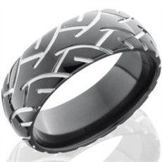 Mens Black Super Slick Tire Tread Ring Guys wedding rings