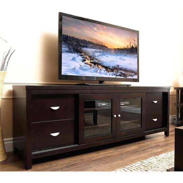 Clarkston 72 Inch Solid Wood And Glass Tv Console By
