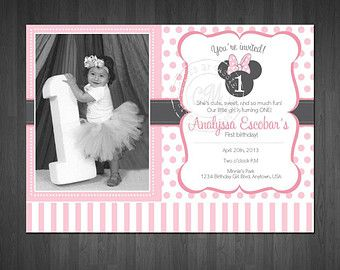 minnie mouse inspir premier anniversaire invitation bapt me anniv do so pinterest. Black Bedroom Furniture Sets. Home Design Ideas