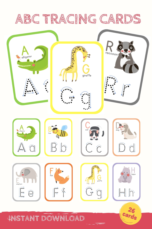 Alphabet Tracing Printable Flashcards Abc Handwriting
