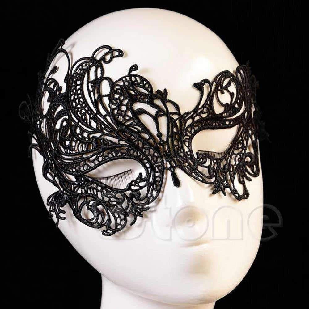 Vintage black women elegant prom party dress lace eye face mask